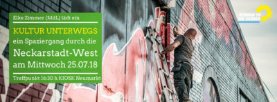 """""""Kultur unterwegs"""" kulturpolitischer Spaziergang mit dem OV Neckarstadt und Manfred Kern, MdL Treffpunkt @Kiosk am Neumarkt"""